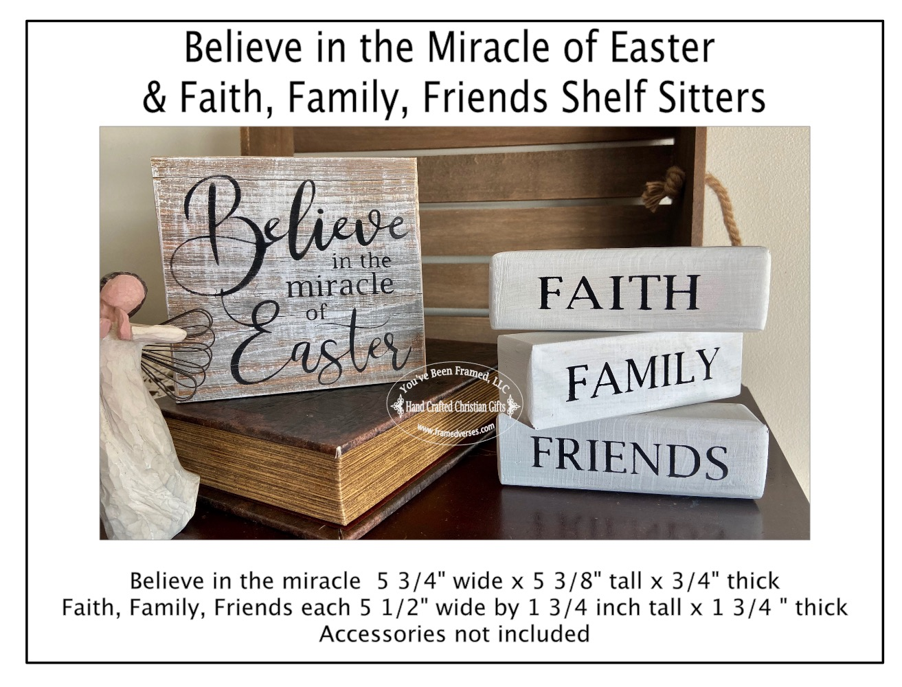 Believe in the Miracle of Easter and Faith Family Friends Shelf Sitters