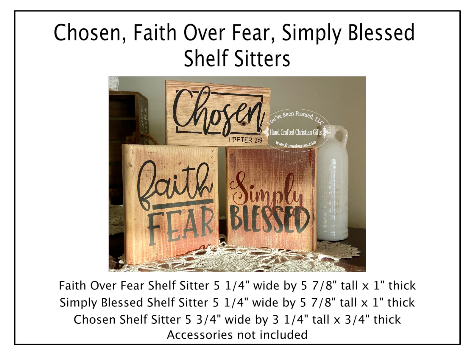 Chosen, Faith Over Fear, Simply Blessed Shelf Sitters Set of 3