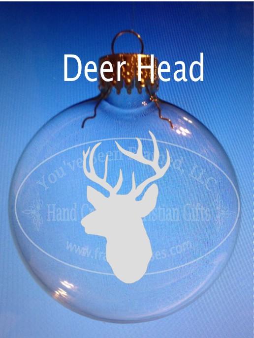 Sandblasted Deer Head Ornament