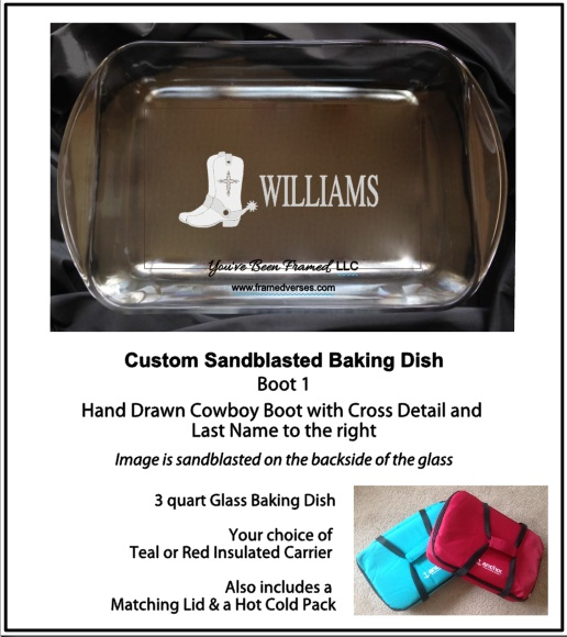 #LSBB1 Sandblasted Cowboy Boot 1 Baking Dish