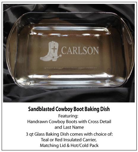 Sandblasted Cowboy Boot Baking Dish