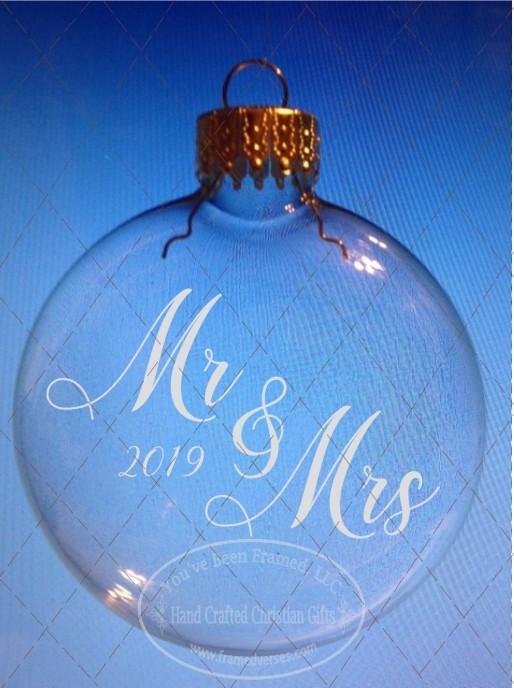 Sandblasted Mr & Mrs Ornament