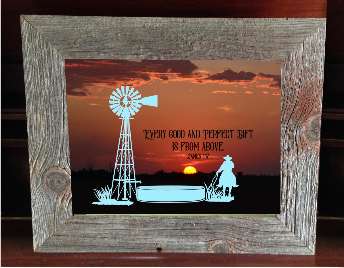 #SB1 Barnwood Shadow box Windmill & cowboy on horse